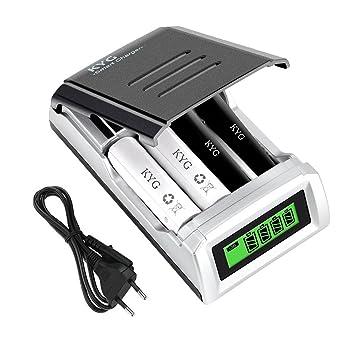 Cargador Rápido de Pilas AA/AAA Ni-MH Ni-CD, Cargador de Baterías Recargable con Inteligente LCD (baterías no Incluidas) [Clase de eficiencia ...