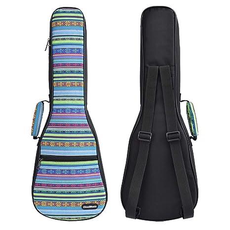 a16eea76ed6 Amazon.com: CLOUDMUSIC Hawaiian Ukulele Case Vintage Blue Ukulele Backpack  10MM Padded Ukulele Gig Bag (Soprano, Blue): Musical Instruments