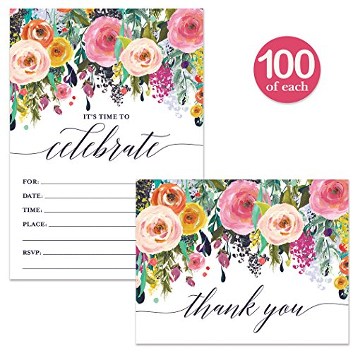 All Occasion Invites & Thank You Cards Matched Set with Envelopes ( 100 of Each ) Celebrate Any Event Birthday Grad Wedding Pretty Fill-in-Style Invites & Folded Thank You Notes Best Value Combination by Digibuddha