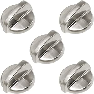Appliancematepack of 5 WB03T10284 Metal Stoves Burner Control Knobs Compatible with GE Oven Knobs.