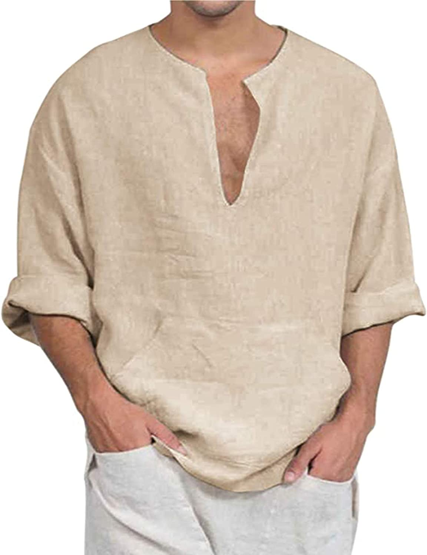 COOFANDY - Camiseta de manga larga para hombre, mezcla de algodón, transpirable, cuello en V, monocromo, para hombre caqui M: Amazon.es: Ropa y accesorios