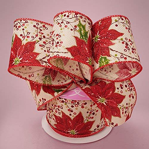Premium Natural Wide Christmas Ribbon - 2 1/2 Inches by 10 Yards (MULTI - Poinsettia Ribbon