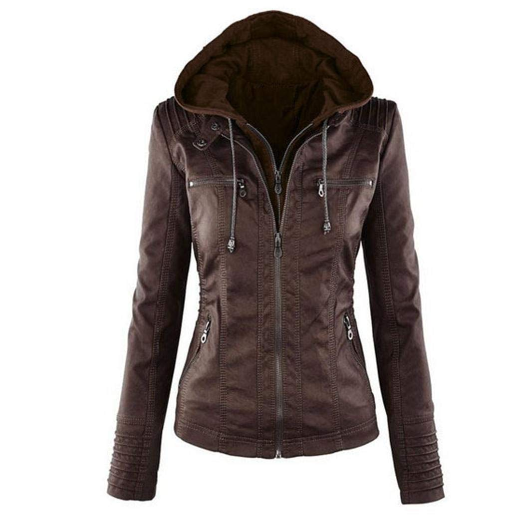 Dark Brown Womens Removable Hooded Faux Leather Jacket Moto Biker Short Jacket Quilted Zip Up Coats XS7XL