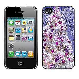 Paccase / SLIM PC / Aliminium Casa Carcasa Funda Case Cover para - Christmas Tree Decorations Purple White Snow - Apple Iphone 4 / 4S