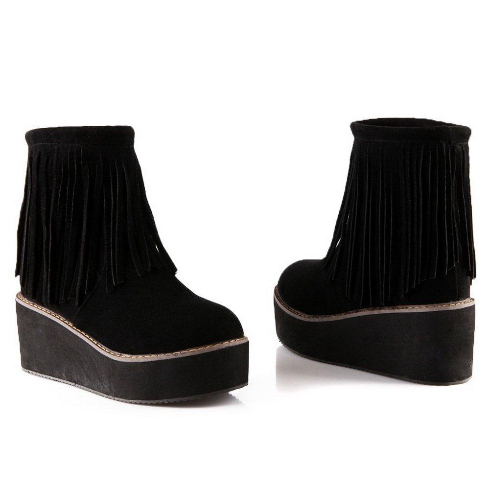 AdeeSu Womens Tassels Round Toe Kitten-Heels Imitated Imitated Kitten-Heels Leather Boots B06WGTV4C5 Boots faf9b4