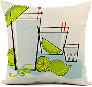 rouihot Linen Throw Pillow Cover Blue Retro Cocktail Spot Vodka Gin Tonic Lime Twist Home Decor Pillowcase 20x20 Inch Cushion Cover for Sofa Couch Bed and Car