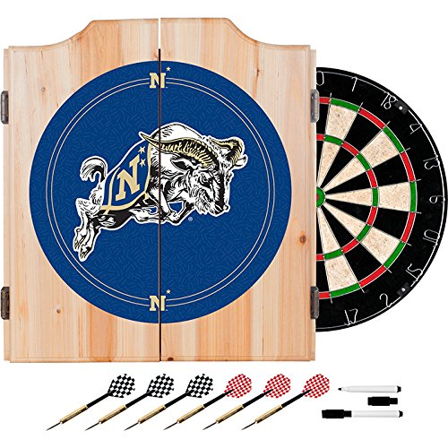 United States Naval Academy Deluxe Solid Wood Cabinet Complete Dart Set - Officially Licensed! by TMG