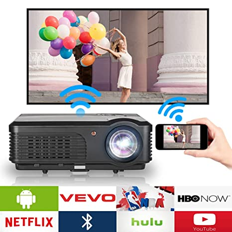 3600 Lumens HD Projector WiFi Bluetooth 2018 Android 6.0 LCD WXGA Smart TV Home Theater Projector Wireless HDMI Airplay Connectivity 1080P Digital ...