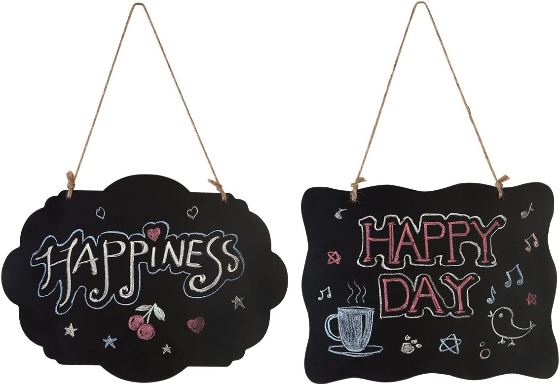 HOMEMAXS Chalkboard Sign Double-Sided First Day of School Board with Hanging String - 4 Pack : Office Products