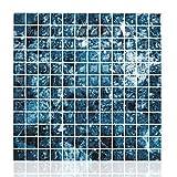 Cocotik Peel and Stick Tile 3D Vinyl Decorative Backsplash Kitchen Tile, Blue, Pack of 10 Sheets