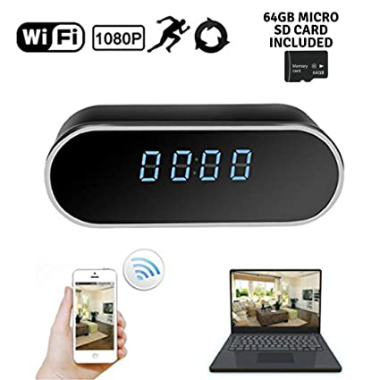 Hidden WiFi Spy Alarm Clock Camera Recorder W/ 64GB Micro SD Card | HD 1080P