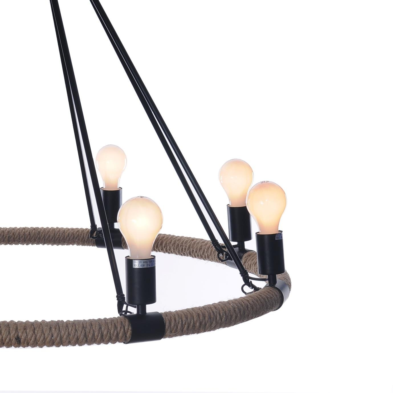 Old Modern Handicrafts Rope Pendant Lamp with 8 Bulbs by Old Modern Handicrafts