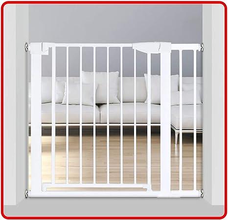 QIANDA Barrera Seguridad Niños Protector Escaleras Blanco La Seguridad for Puertas Y Escalera, Ajuste A Presión | Cierre Automático | 90 ° Detener | Sin Perforación, Todo Ancho 75-236cm: Amazon.es: Hogar