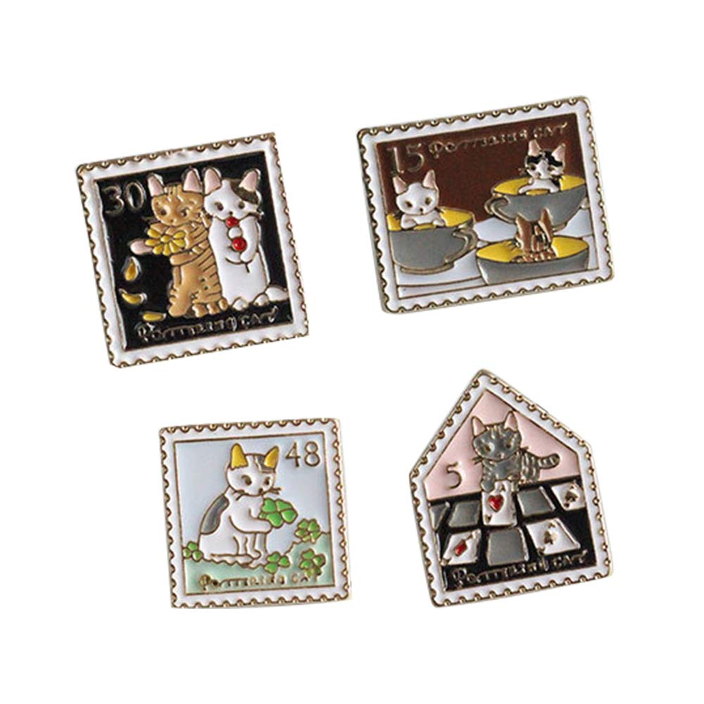 Beyonder Cartoon Animal Brooch Pin Cute Enamel Lapel Pin Sets Clothes Bags Backpacks Decoration (Cat Stamp Set of 4)