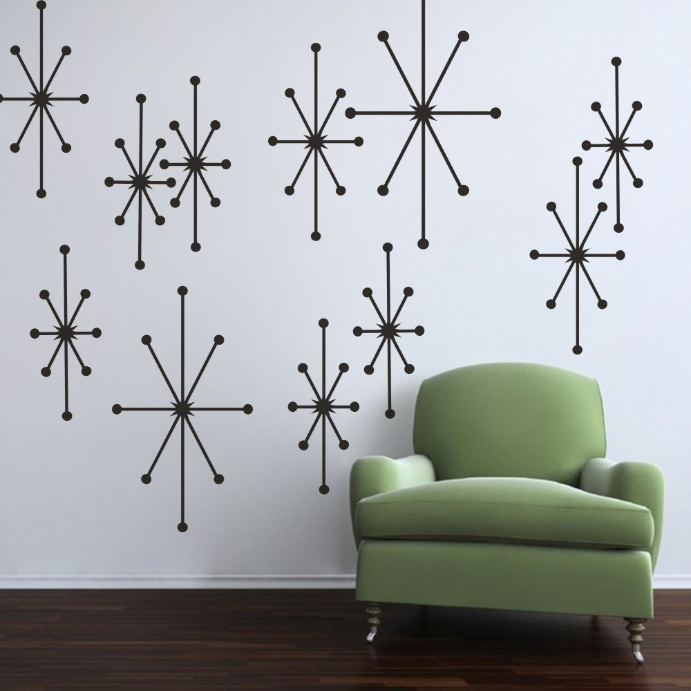 amazoncom mairgwall vinyl atomic starbursts wall decal mid  - amazoncom mairgwall vinyl atomic starbursts wall decal mid century modernwall sticker retro wall graphic home art decor black home  kitchen