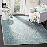 Safavieh Adirondack Collection ADR108L Light Grey and Teal Oriental Vintage Medallion Area Rug (6' x 9')