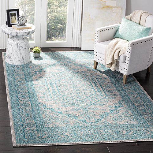 Safavieh Adirondack Collection ADR108L Light Grey and Teal Oriental Vintage Medallion Area Rug (5'1'' x 7'6'') by Safavieh