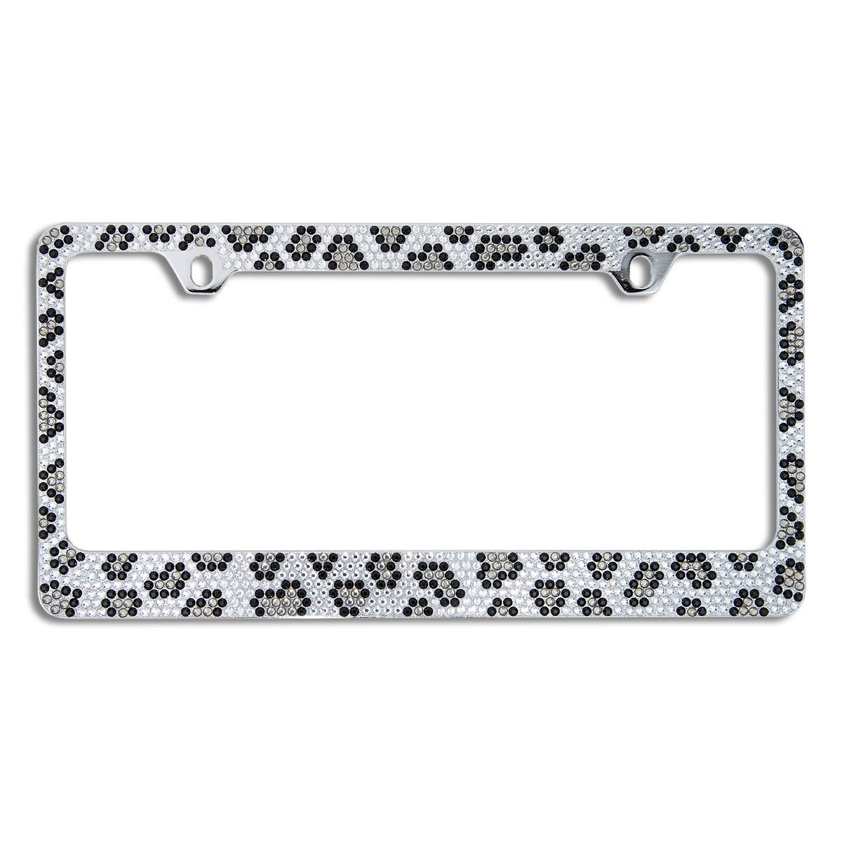BLVD-LPF OBEY YOUR LUXURY  Popular Bling 7 Row AB Aurora Borealis Color Crystal Metal Chrome License Plate Frame with Crystal Screw Caps 1 Frame