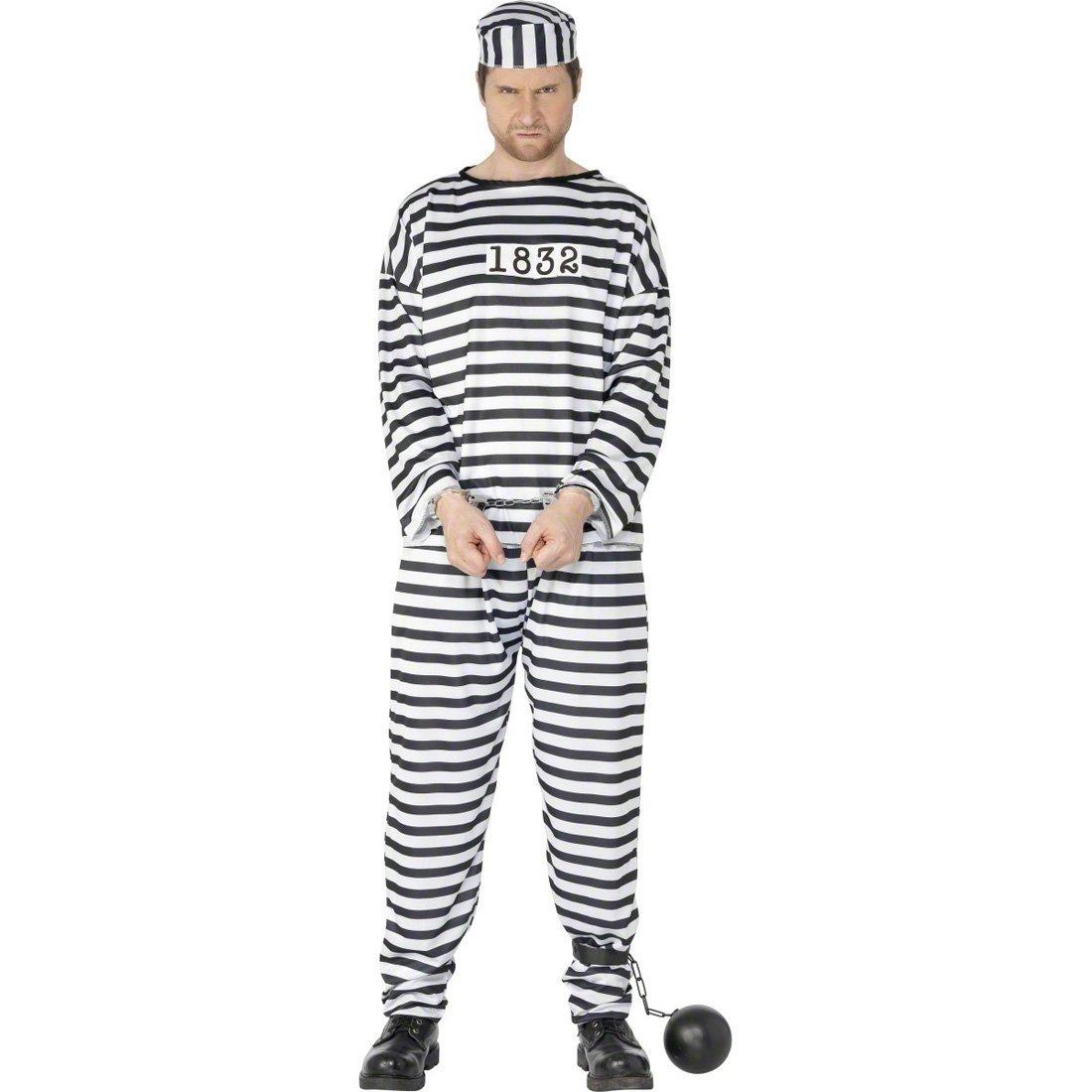 NET TOYS Traje de convicto para Hombre Disfraz preso ...