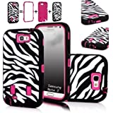 XYUN Zebra Stripes Defender Hard Case Camo Cover for Samsung Galaxy N7100 Note 2 Ii With a XYUN Mobile Phone Cleaner Dust Plug Gift (Rose)