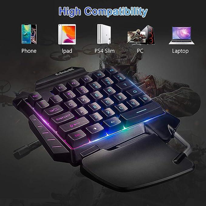 Ertisa Teclado Gaming para Una Sola Mano Ergonomica Reposamanos Rainbow LED Retroiluminación 35-Key Mini Portatil Teclado Profesional para Juegos per ...