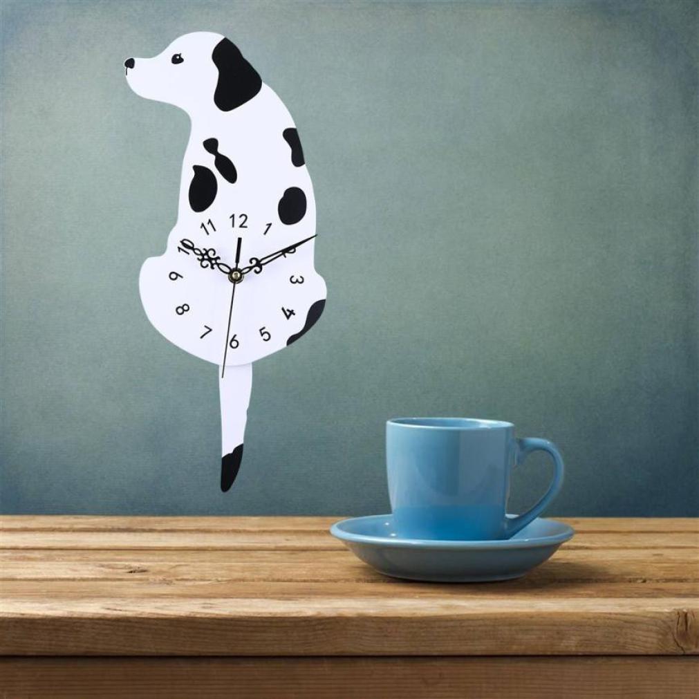 DDLBiz Creative Swing Tail Non Tick Cartoon Cute Cat Dog Wall Clock Home Decor (F)