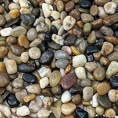 "Natural Decorative Polished Mixed Pebbles 3/8"" Gravel Size"