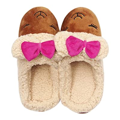 Ladies Plush Flannel Slippers Printed with Soft Foam Non Slip Bottoms (Small 5-6, Brown with Hot Pink Bow) | Slippers