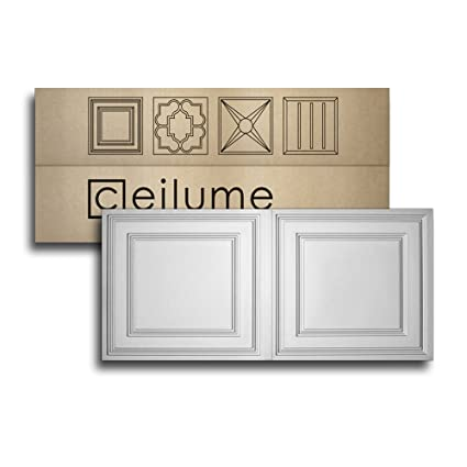 Ceilume 10 Pc Stratford Ultra Thin Feather Light 2x4 Lay In Ceiling Tiles