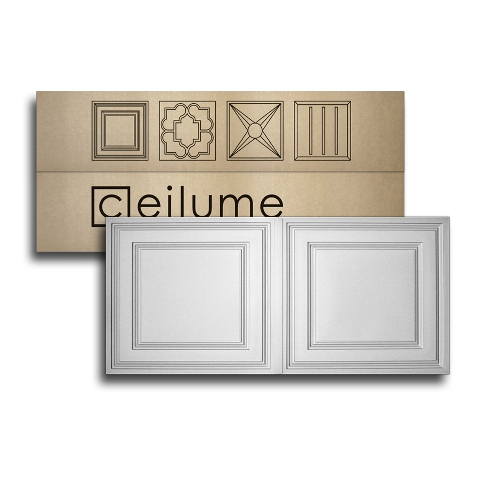 10 pc - Ceilume Stratford Ultra-Thin Feather-Light 2x4 Lay In Ceiling Tiles - For Use In 1'' T-Bar Ceiling Grid - Drop Ceiling Tiles (White) by Ceilume