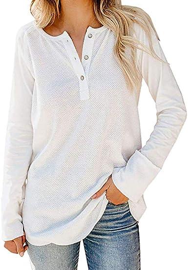 Túnica Blusa Top Camisa Elegante Mujer Manga Larga Elegante Botón Camisa Oficina para Mujer Camisas Algodón Lino Camiseta con Cuello En V Tops con Bolsillos Jersey Shirt Otoño Invierno BuyO: Amazon.es: Ropa