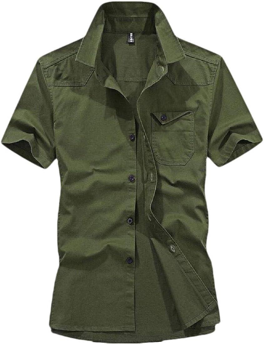 YIhujiuben Mens Short Sleeve Military Button Down Summer Tops Blouses Cargo Shirt