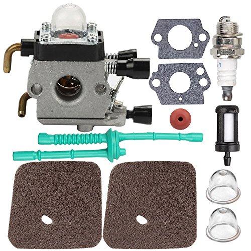 Carburetor with Air Filter Fuel Line Gasket Spark Plug Kit for Stihl FS38 FS45 FS46 FS55 KM55 HL45 FS45L FS45C FS46C FS55C FS55R FS55RC String Trimmer Weed Eater (Grass Fs)