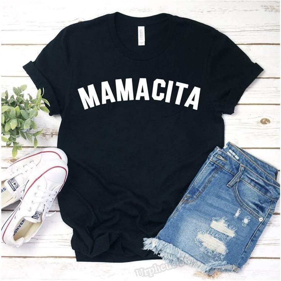 XINGJIJIJIA Corto para Mujeres Camisa Divertida del Regalo del día de la Madre Bendita mamá mamá Camiseta Cansado como Madre Harajuku tee Celebración de días Festivos (Color : Black, Size : M)