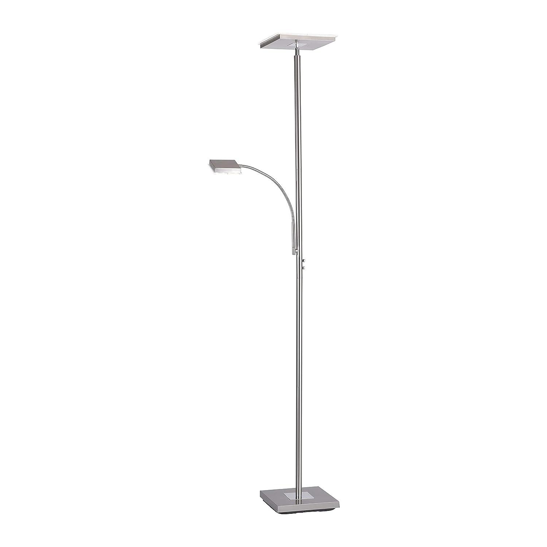 LED-Deckenfluter dimmbar mit flexibler Leselampe, Stehleuchte Wohnzimmerlampe Standleuchte LED-Fluter, Wohnzimmerleuchte, Leseleuchte LED Standleuchte 2400 Lumen 3000 Kelvin warmweiss quadratisch