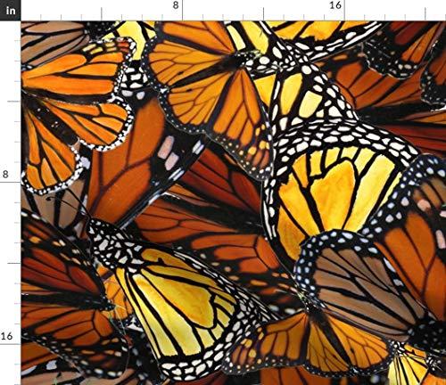 Spoonflower Butterfly Fabric - Australian Wanderer Monarch Orange Water Colour Hand Drawn Batik by Wiccked Printed on Cotton Poplin Ultra Fabric by The Yard ()
