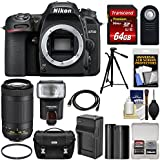Nikon D7500 Wi-Fi 4K Digital SLR Camera Body 70-300mm VR AF-P Lens + 64GB Card + Battery & Charger + Case + Tripod + Flash + Kit