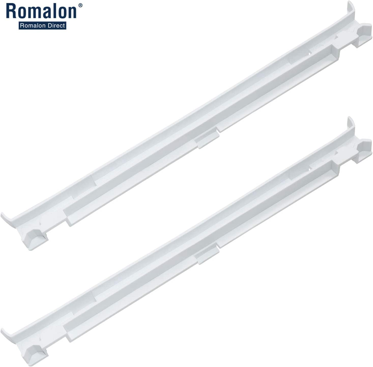 Romalon 2-Pack 2223320 Track Refrigerator Crisper Drawer Slide Rail Compatible With Whirlpool Refrigerator Pan Slide Replace Number 1016208, AH869557, EA869557, PS869557 - a set of Rails