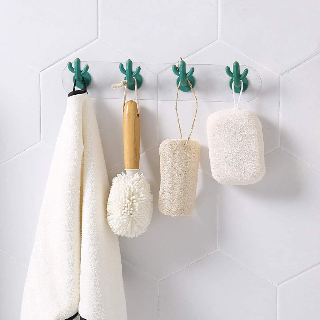 XGao Adhesive Hooks Cute Cactus Towel Hook Abs Sticky Towel Rack Hanger Rod Bar Storage Racks Wall Mounted Easy Install Strong Self-Adhesive Shelf for Kitchen Bathroom Shower Hanging