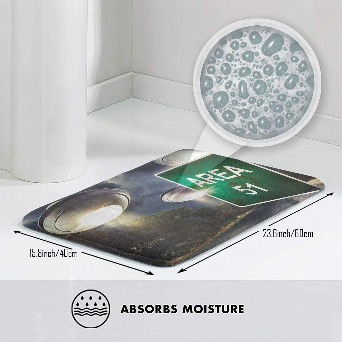 Chemibo Bathroom Rug Mat Shower and Bath Room Area 51 Alien UFO Bath Mat,Extra Soft and Absorbent Rugs 24 X 16 Inch Machine Wash//Dry,Floor Mats for Tub