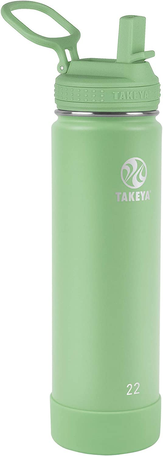 Takeya Actives Insulated Water Bottle w/Straw Lid, Mint, 22 Ounce