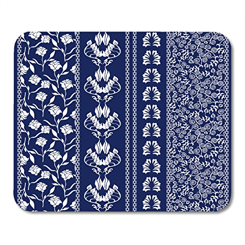 Nakamela Mouse Pads Lace Bohemian Borders Boho Stripes with Floral Motifs Roses Paisleys Ethnic Collection White Dark Blue Mouse mats 9.5