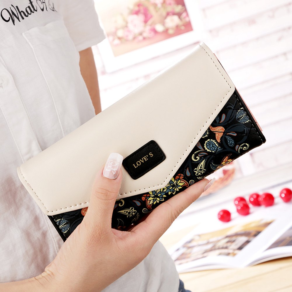 Womens Leather Wallet Purse Handbag Floral Money Clips Credit Card Case Holder by Uopen Endy (Image #4)
