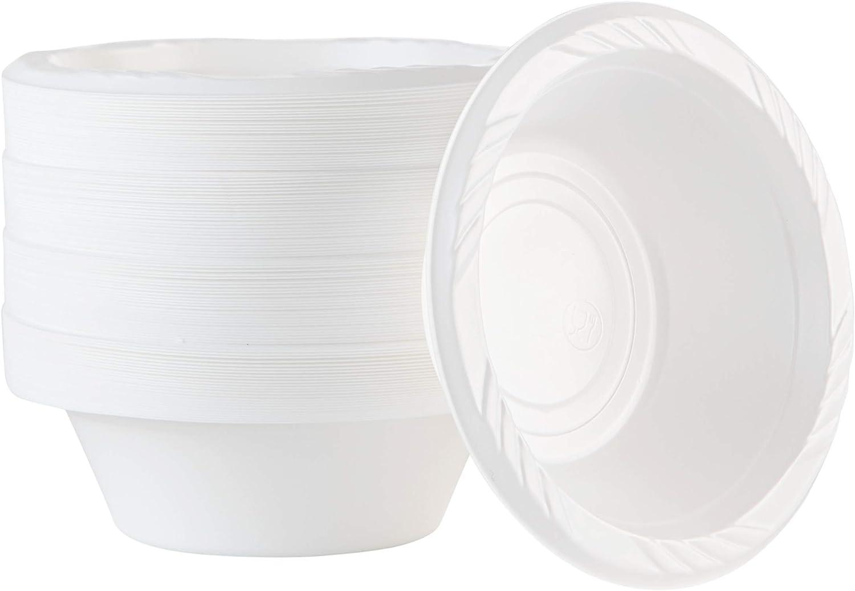 100 Count Disposable 5 ounce White Plastic Dessert Bowls