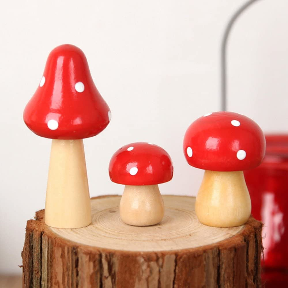 Skyseen 3PCS Wooden Mushrooms Craft Ornaments for Home Decor
