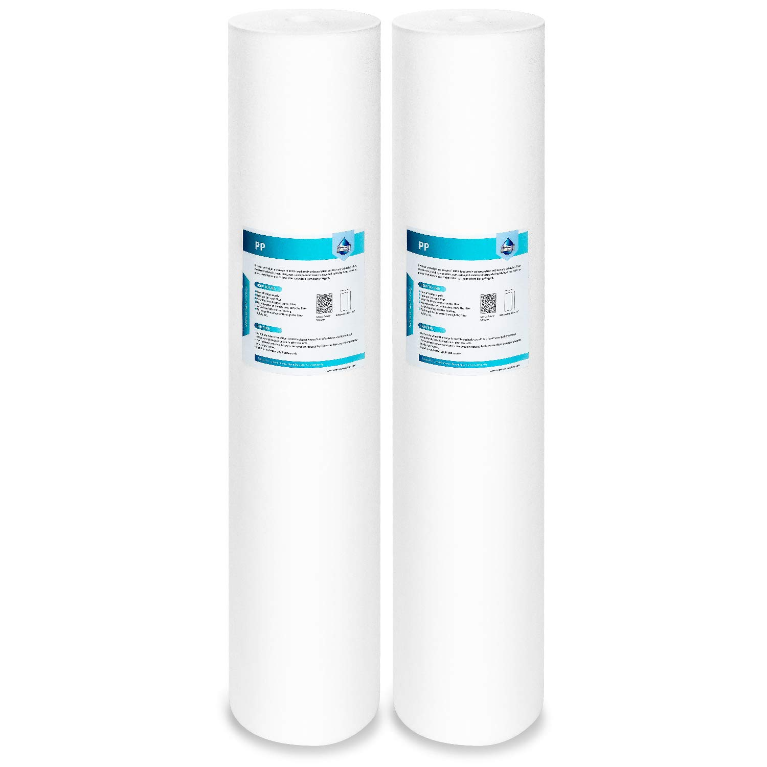 2 Pack Membrane Solutions 1 Micron 20 Inch Bigh Blue Polypropylene Whole House Sediment Water Filter Cartridge