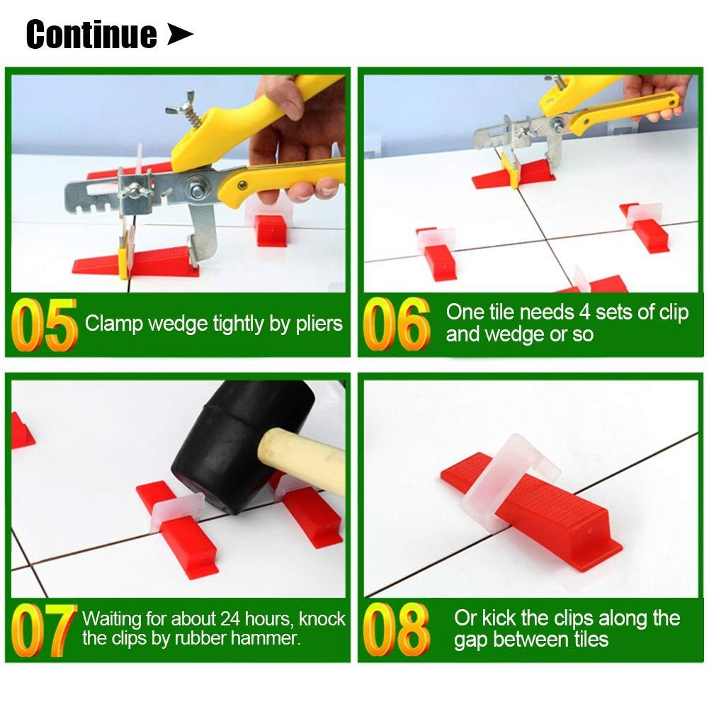 Syst/ème de nivellement de carrelage en Plastique pour Mur de Plancher Outils 500 x Clips Neufday Syst/ème de nivellement de carrelage 1 x Pince 200 x Coins