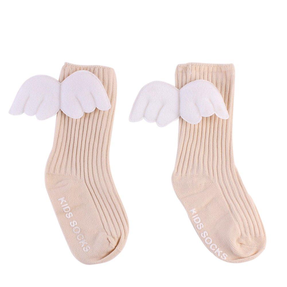 Tangbasi Baby Girls Knee High Socks Toddler Infant Kids Socks Leg Warmers Angel Wings Decor