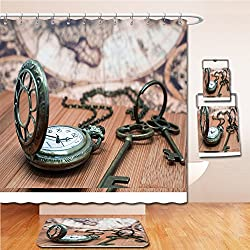 LiczHome Bath Suit: Showercurtain Bathrug Bathtowel Handtowel Antique Grunge Pocket Watch Clock, Skeleton Keys On Wooden Table and Ancient Map Background