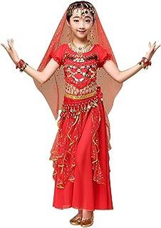 Oyedens Bambina Ragazza Vestito Dancewear Tuta Abiti Vestiti Minigonna Bambini di Danza del Ventre Vestito Costume Dell'India Balli Vestiti Migliori Gonna